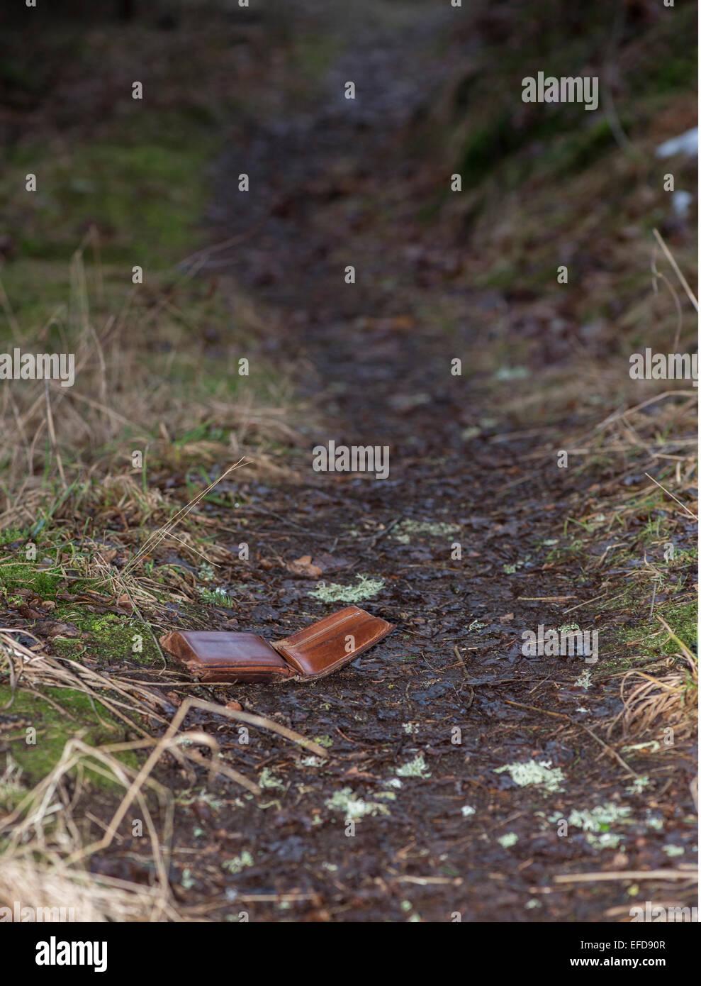 Leder-Portemonnaie auf Wanderweg im Wald verloren Stockbild