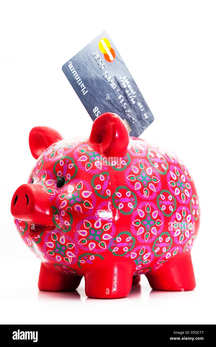 Kreditkarte sparen Geld Grenze Bewertung Finanzmittelfonds Fonds Karten leihen Kreditaufnahme Kredit Darlehen Kopie Stockbild