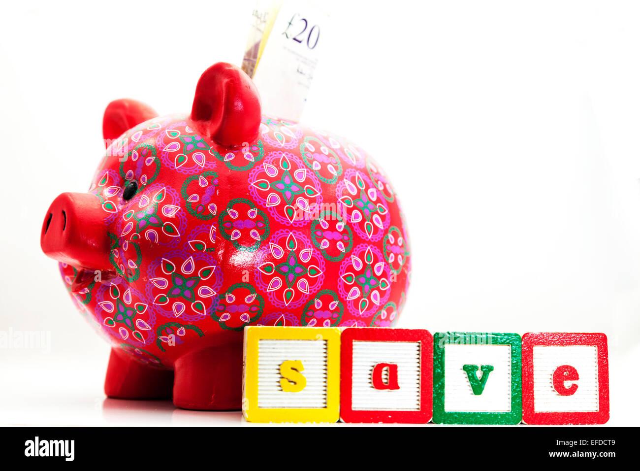 sparen Geld Cash Sparschwein sparen Sparer spart Regentag Notgroschen Rente ausgeschnitten Kopie Raum weißen Stockbild