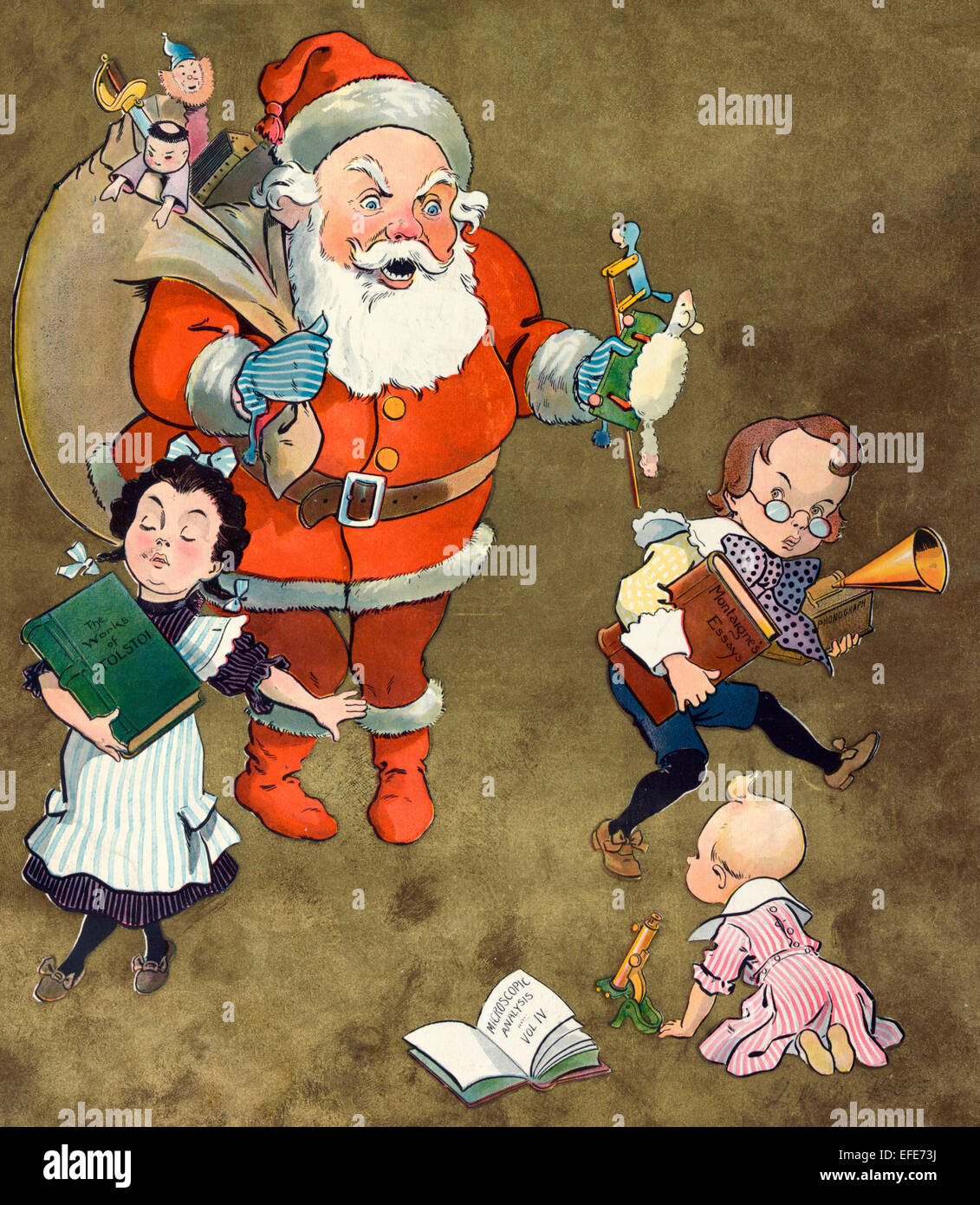 Weihnachten 1901 - Abbildung zeigt Santa Claus mit einem Paket ...