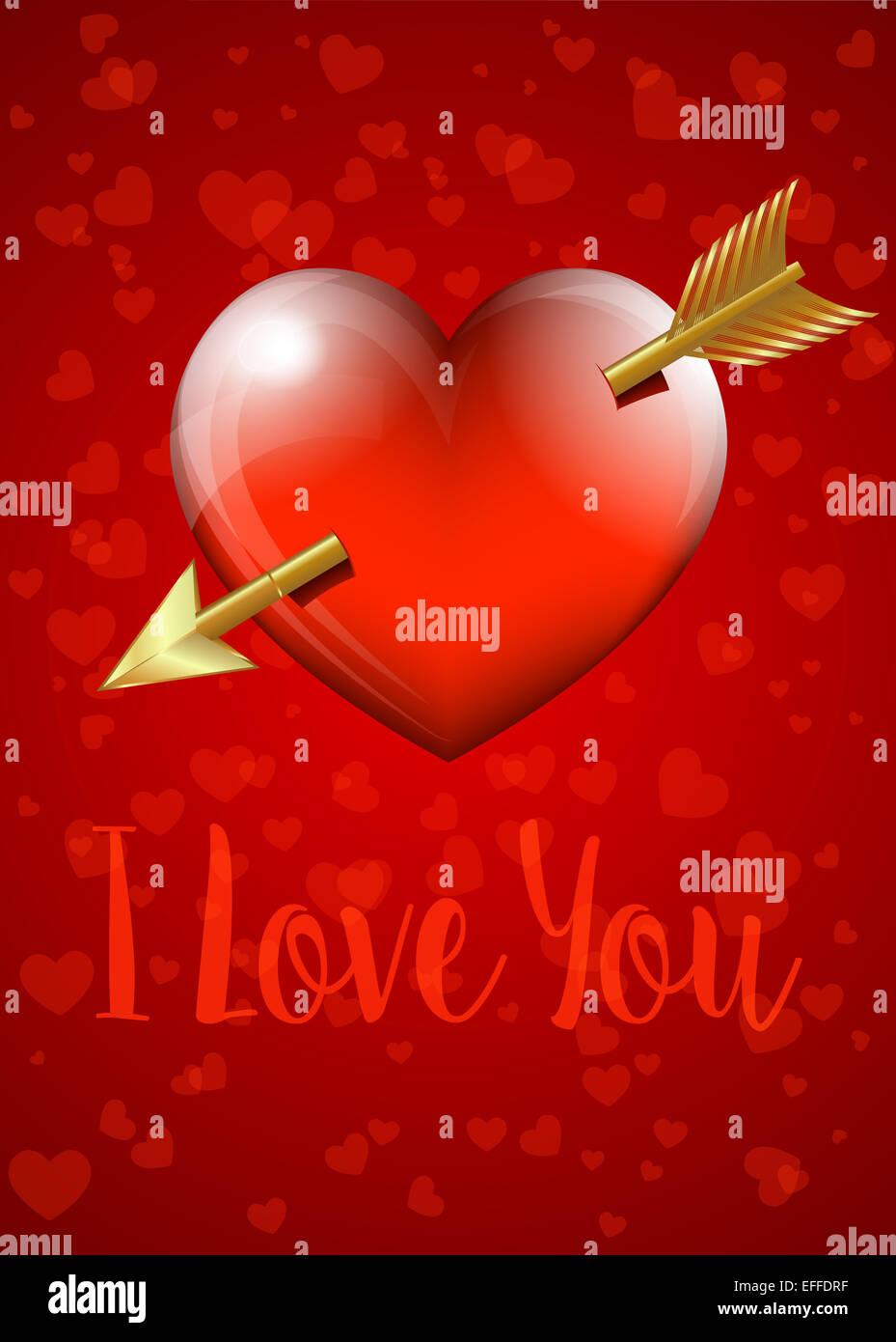 Ich Liebe Dich Valentinstag Herz Mit Pfeil Karte Stockfoto Bild