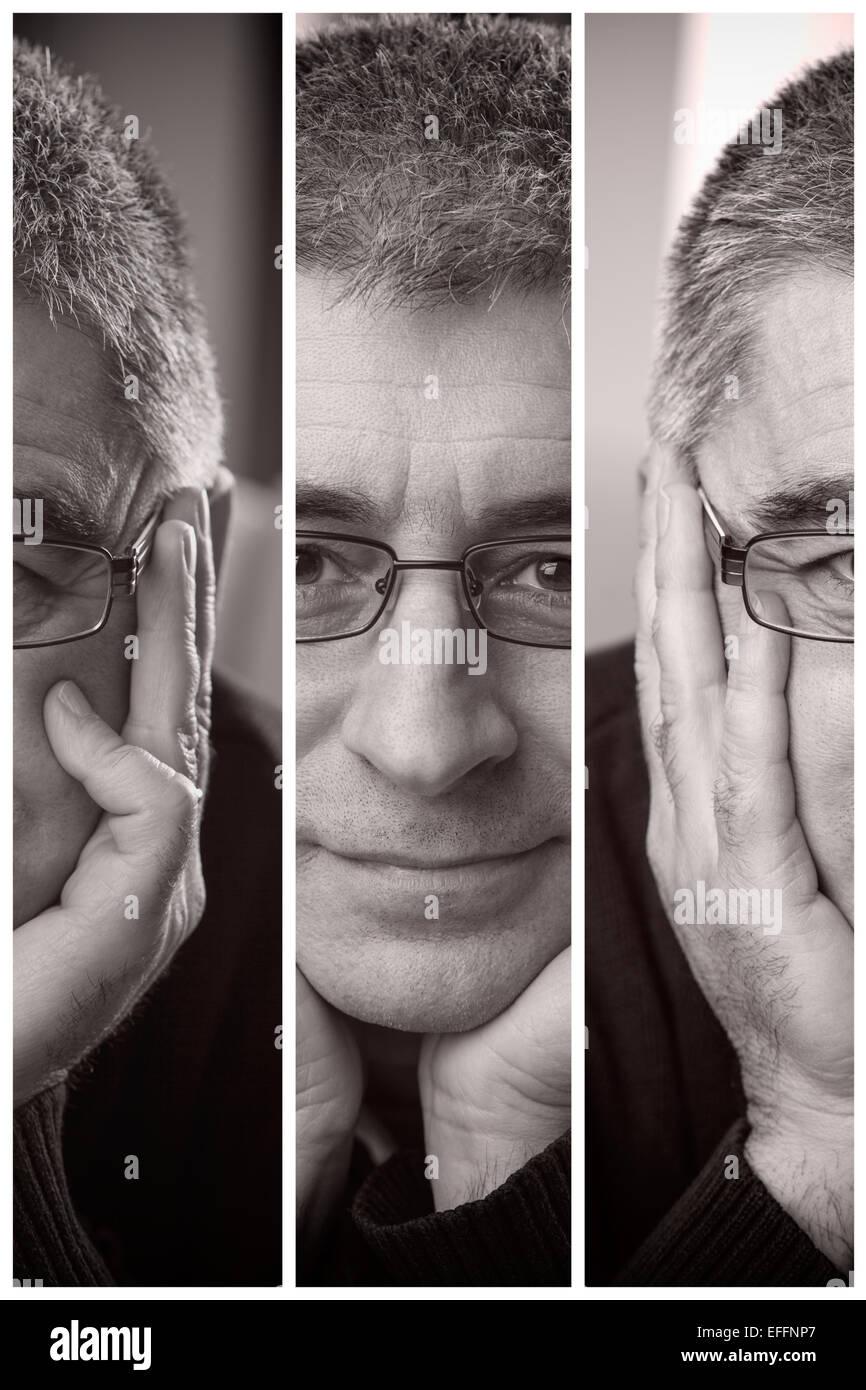 Mann-Gesicht-Stücke Stockbild