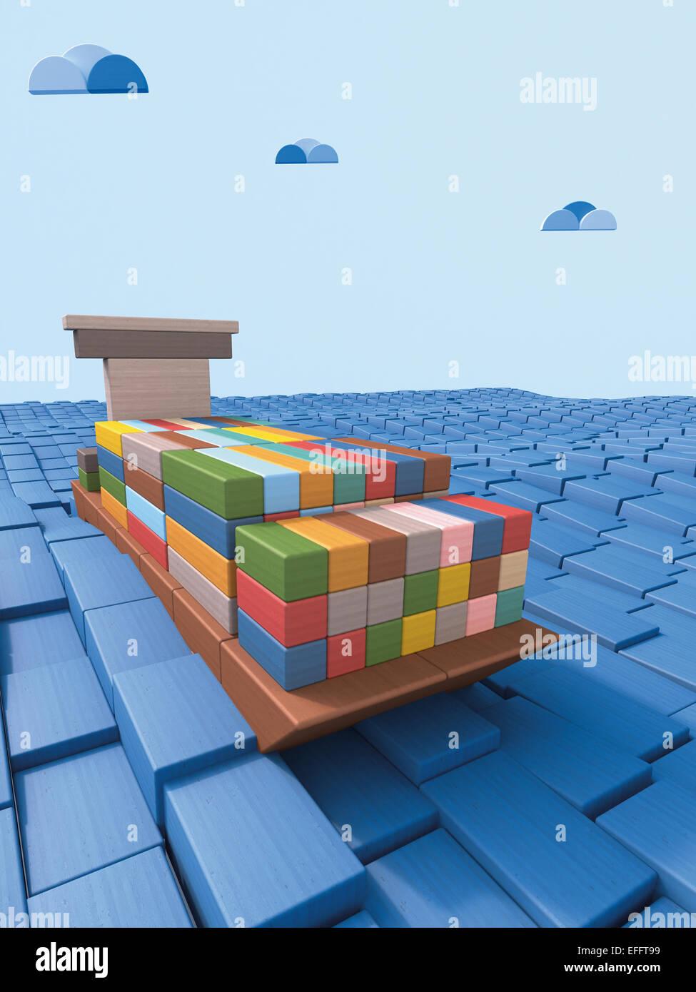 Versand Container Schiff Gemacht Von Bauen Von Backsteinen, 3D Rendering  Stockbild