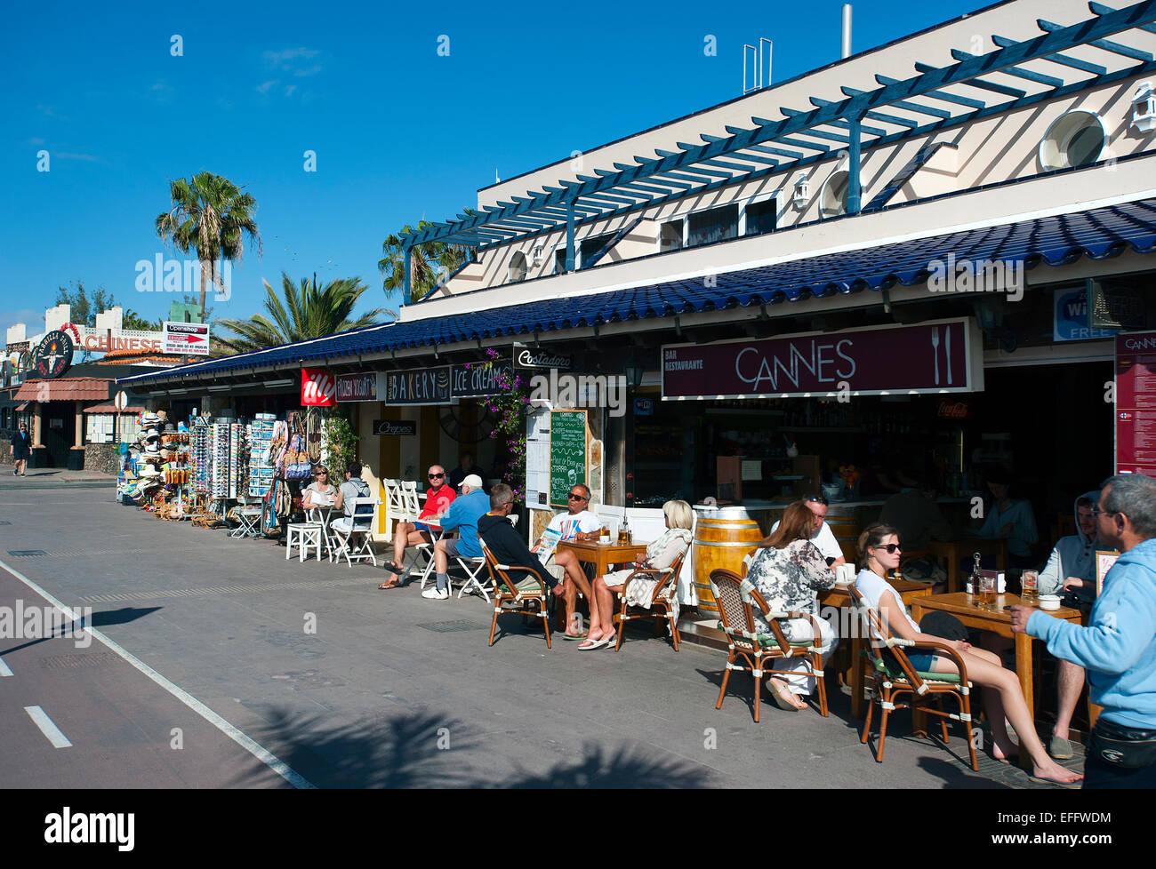 Cafe-Bar, Corralejo, Fuerteventura, Kanarische Inseln, Spanien Stockbild