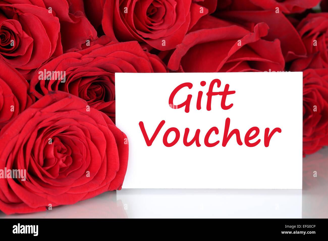 Rote Rosen Mit Geschenk Gutschein Zertifikat Für Geburtstag