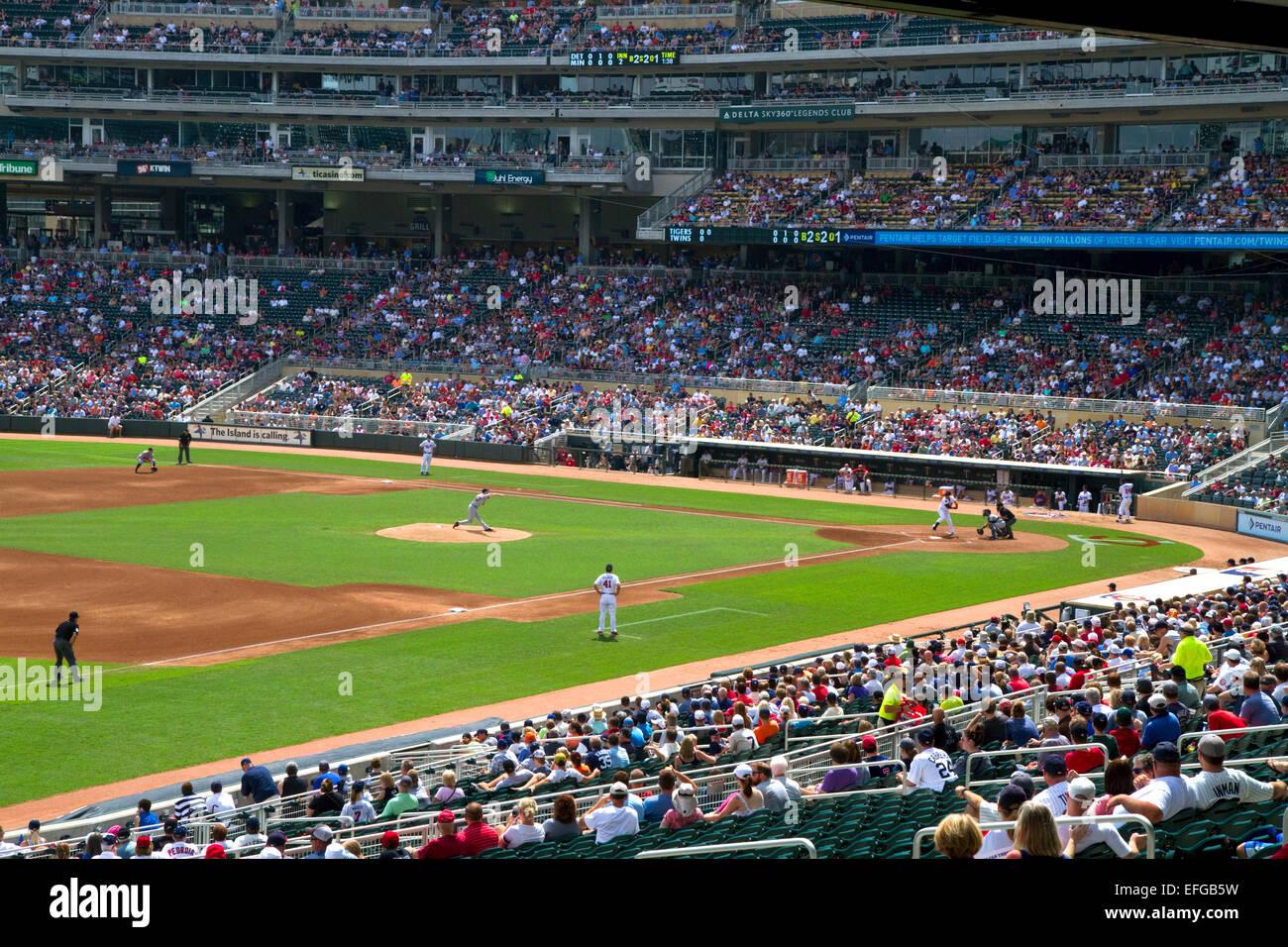 Der Baseball-Park am Zielfeld in Minneapolis, Minnesota, USA. Stockfoto