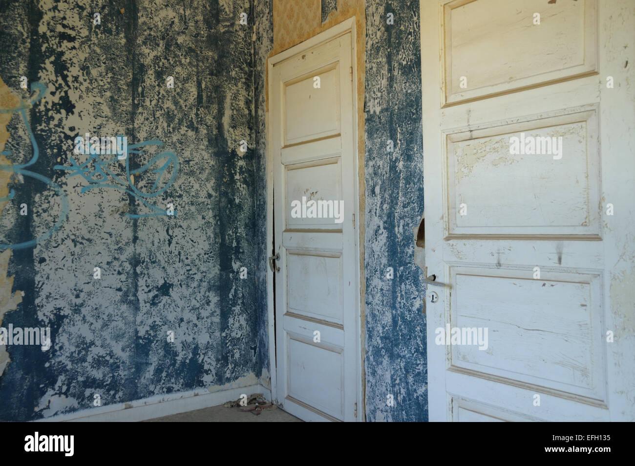 Zwei Türen Aus Holz Und Blau Peeling Wand Mit Zerrissenen Tapeten In  Verlassenen Haus.