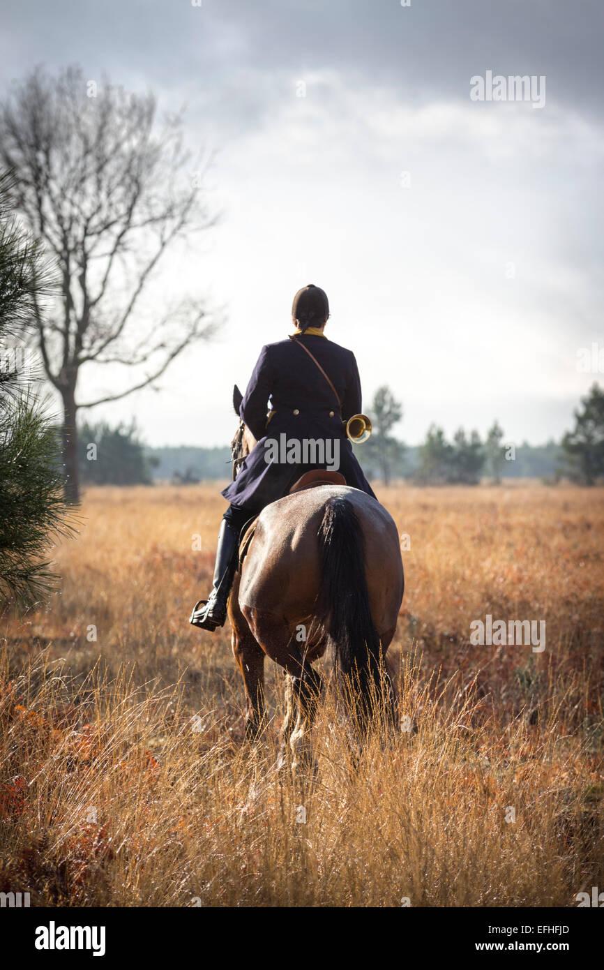 Ein Lady-Reiter, Teilnahme an einer Jagd mit Hunden in den Landes (Frankreich). Cavalière Teilnehmer À Stockbild