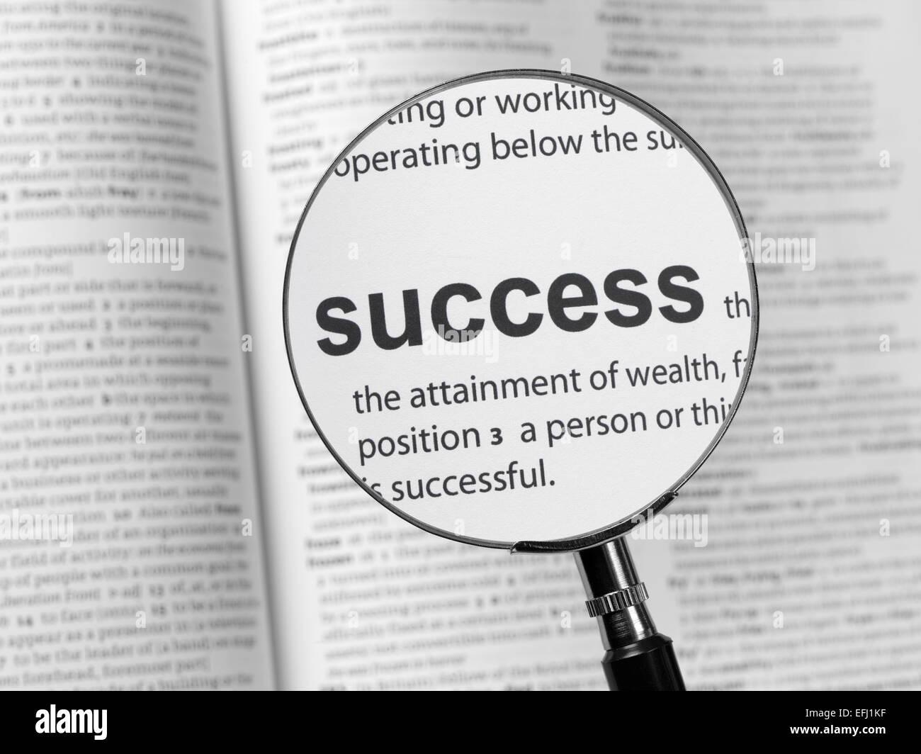 Wörterbuch, Hervorhebung Erfolg Stockbild