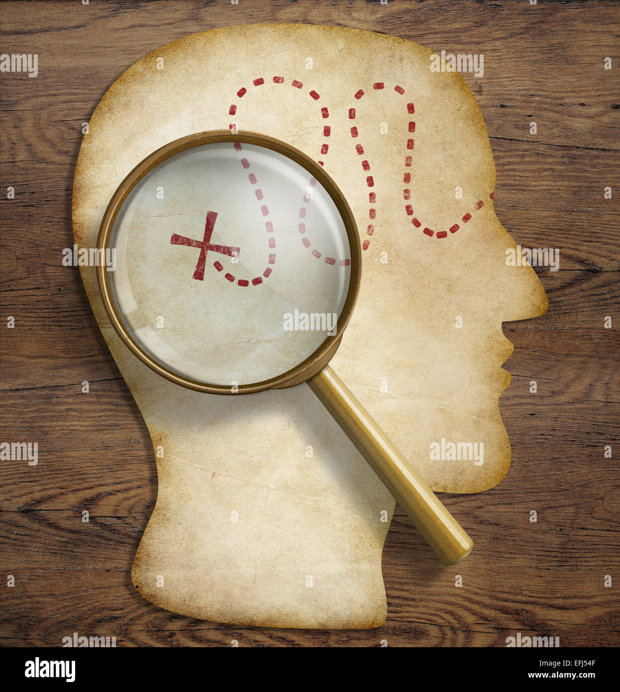 Gehirn, innere Welt, Psychologie, Talent Erforschung und Entdeckung Konzept. Stockbild
