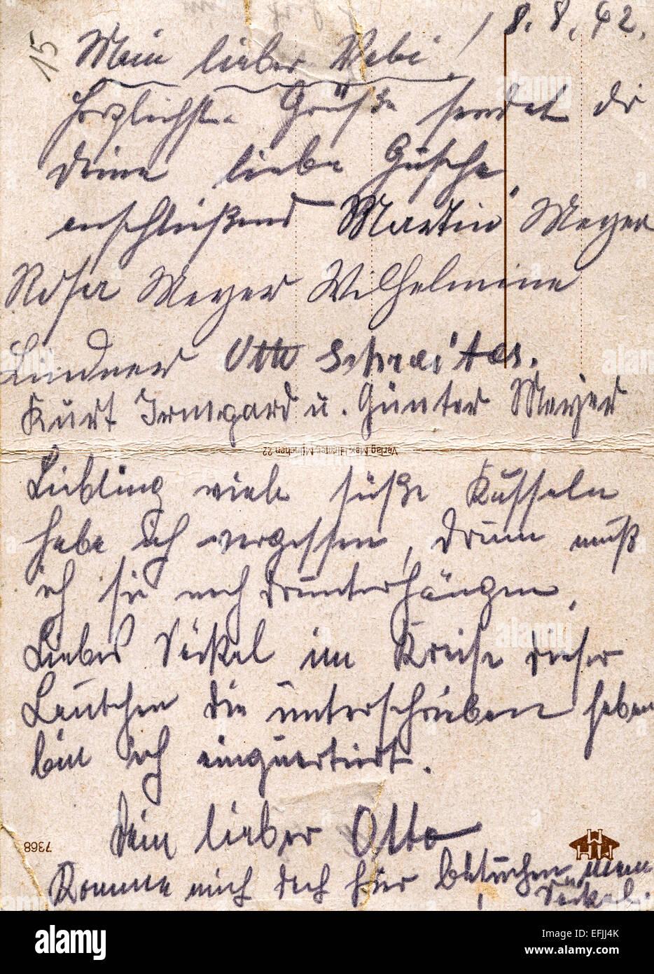 Fragment Einer Alten Handgeschriebenen Brief Geschrieben In