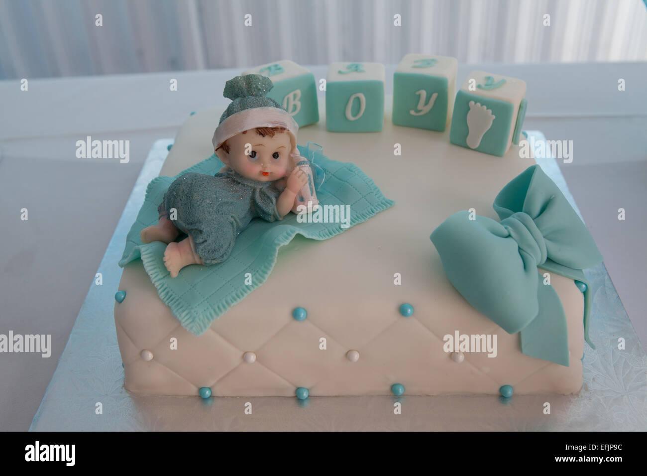 Baby Dusche Kuchen Fur Einen Jungen Stockfoto Bild 78473960 Alamy