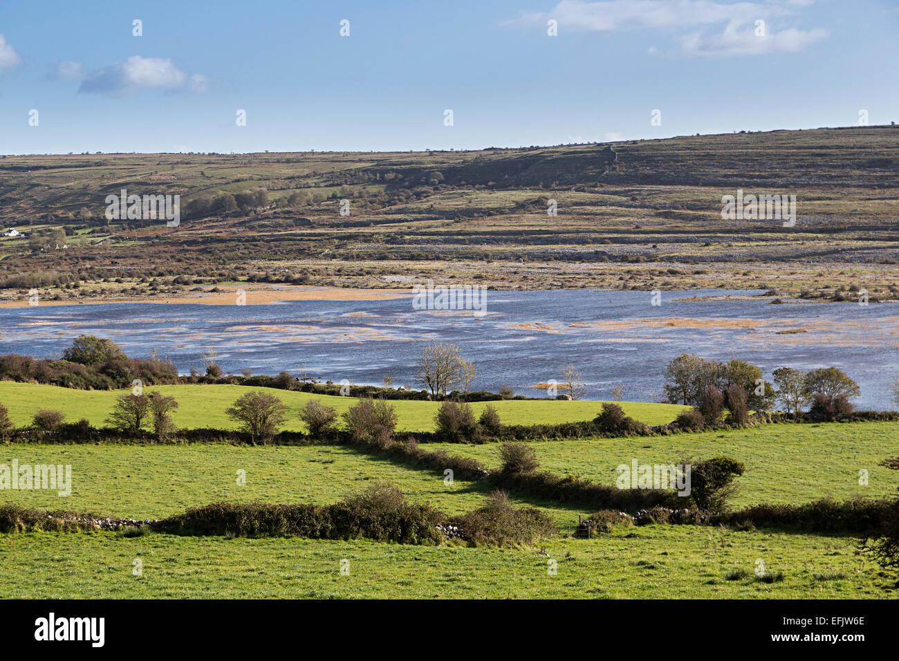 Carran Turlough saisonale See, Burren, Co. Clare, Irland Stockbild