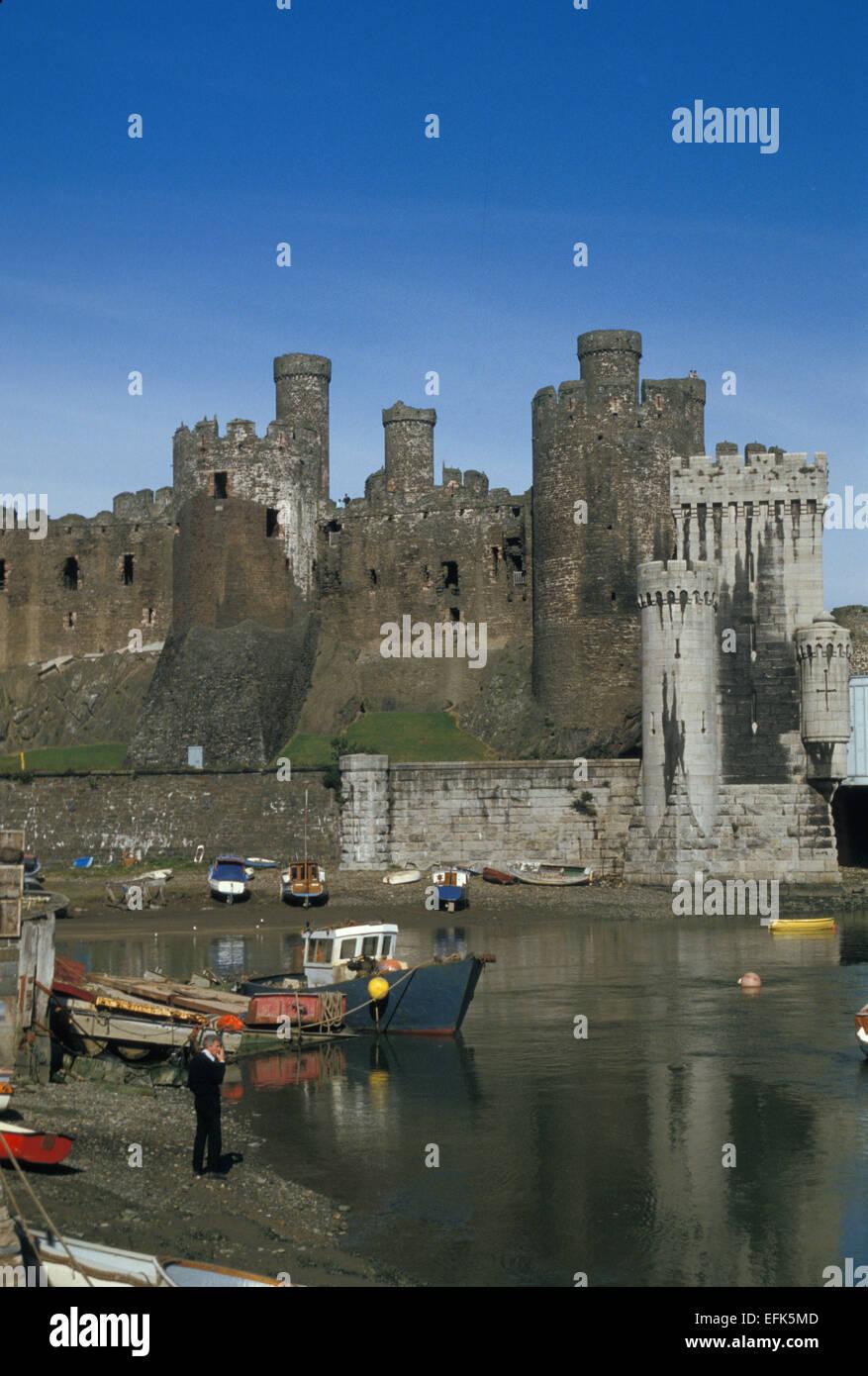 Conway Castle Gwynedd Wales UK ca. 1980er Jahre Stockbild