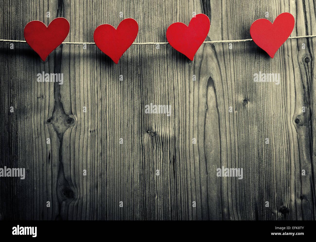Herzformige Clips Hangen Am Seil Valentinstag Liebe