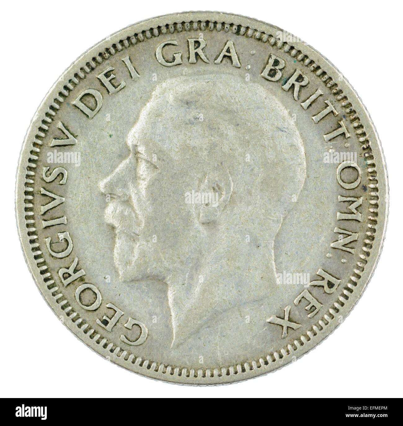 1 Schilling Münze von King George V Herrschaft (1934 Englische Version, Köpfe Seite). Stockbild