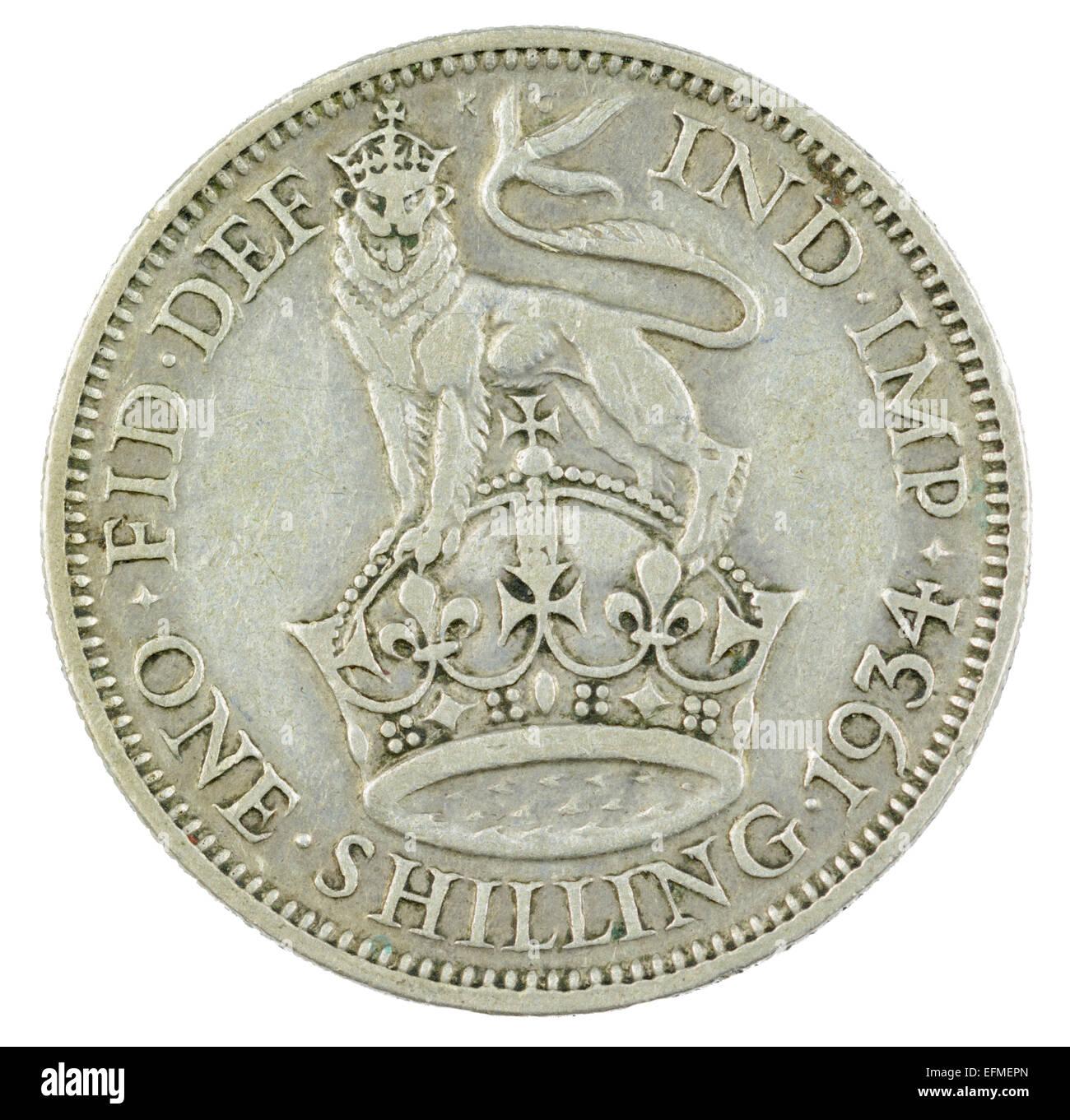 Schilling-Münze von König George V Herrschaft (englische Version von 1934, Tails Seite). Stockbild