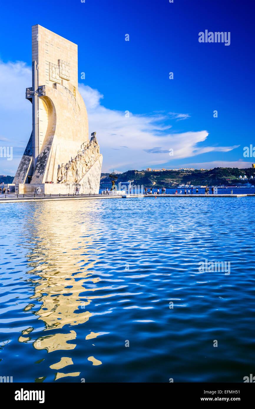 Belem, Lissabon, Portugal am Denkmal der Entdeckungen. Stockbild