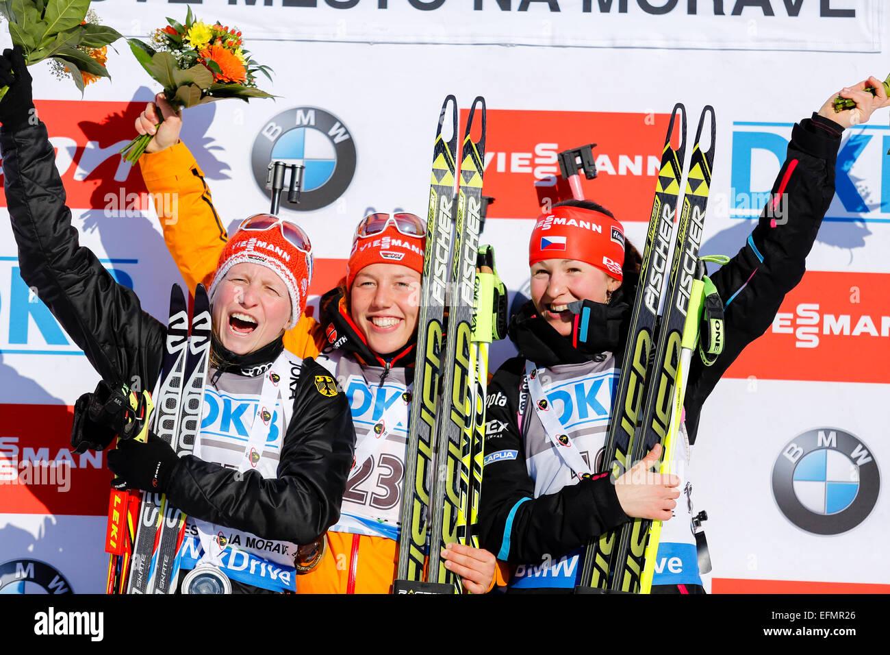 Nove Mesto Na Morave, Tschechische Republik. 7. Februar 2015. Sieger bei der Biathlon World Cup Sprint Frauen. Starten Stockbild