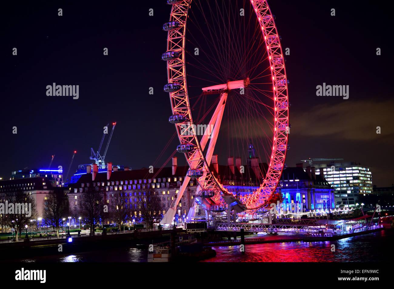 Das London Eye auf Southbank in der Nacht Stockbild