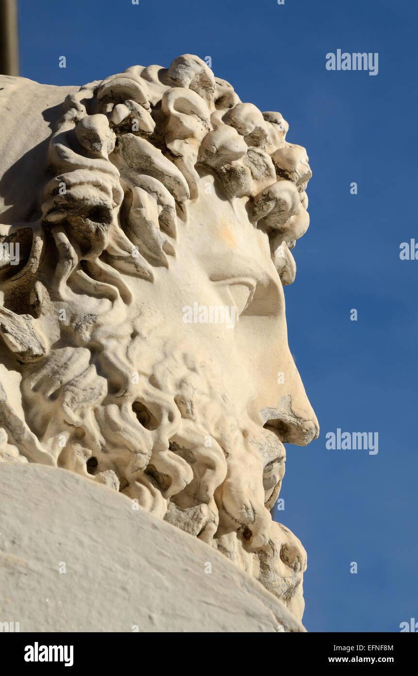 Stein Portrait Schnitzen oder Statue des griechischen Euthymenes Explorer Reisende oder Reisender von Marseille Stockbild