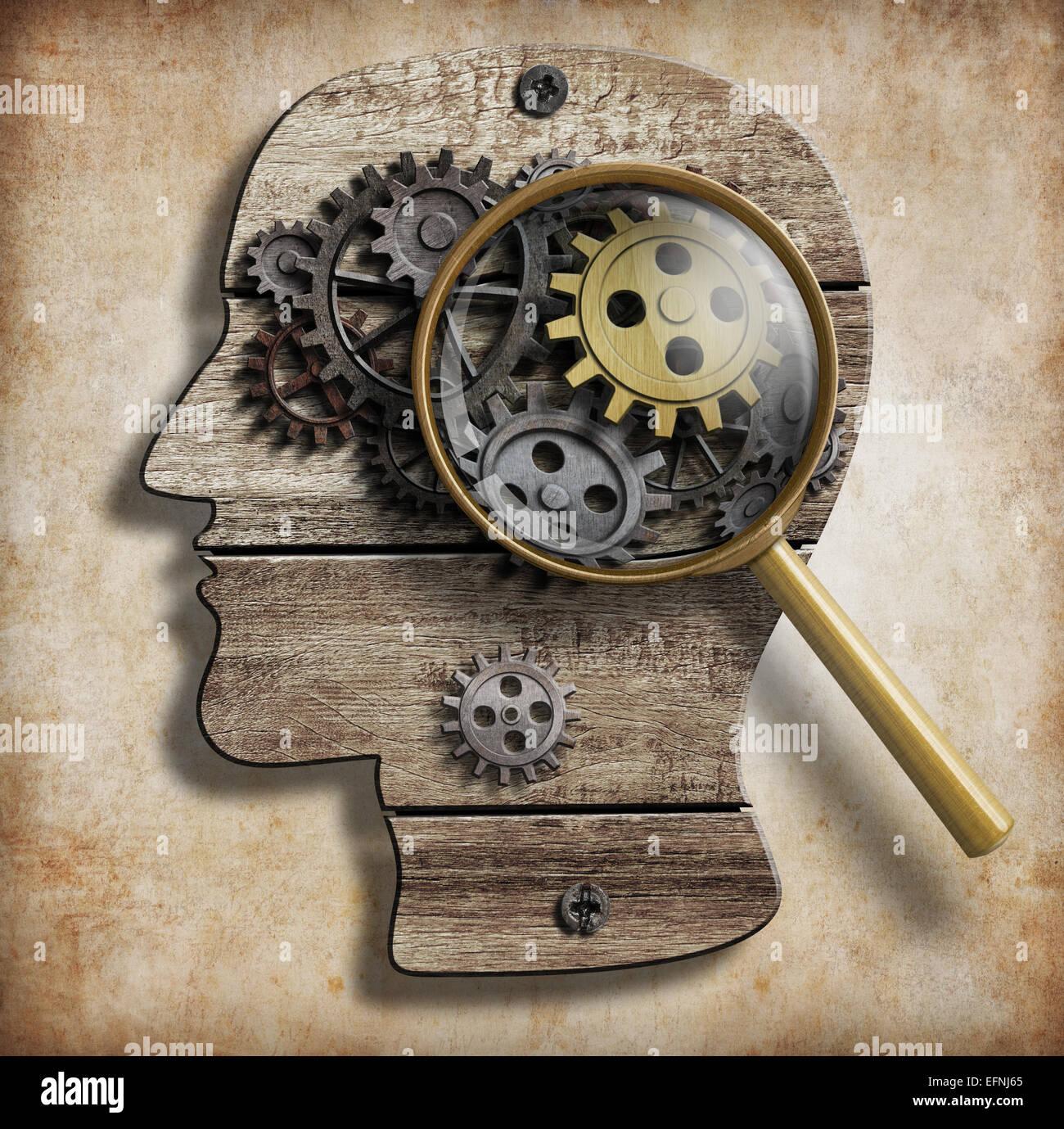 Gehirn-Getriebe und Zahnräder. Psychische Krankheit, Psychologie, Erfindung und Idee Konzept. Stockbild