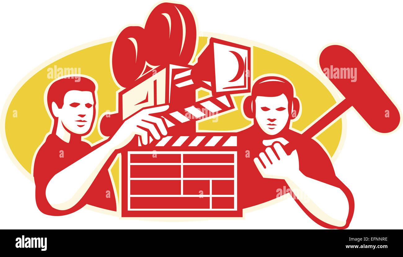 Abbildung einer Regisseur Film Crew halten Schindeln Klöppel ...