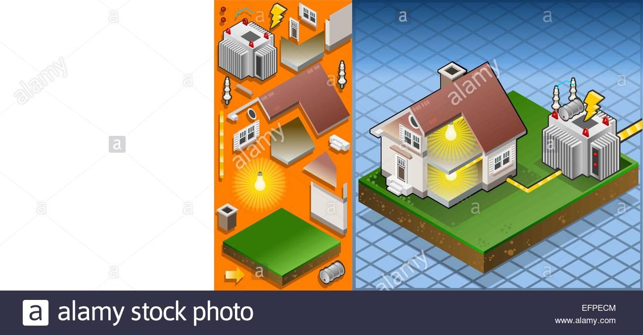 Detailed Animation Isometric Diagram House Stockfotos & Detailed ...