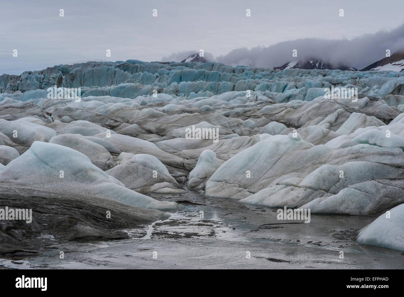 Riesige Gletscher im Hornsund, Svalbard, Arktis, Norwegen, Skandinavien, Europa Stockbild