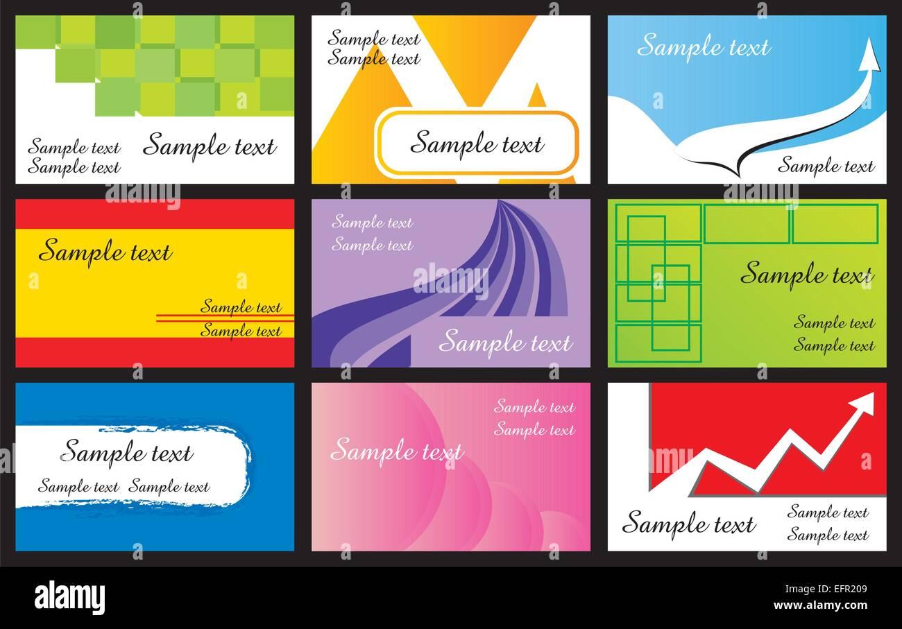 Business-zeitgenössische Design von 9 verschiedenen Visitenkarten ...