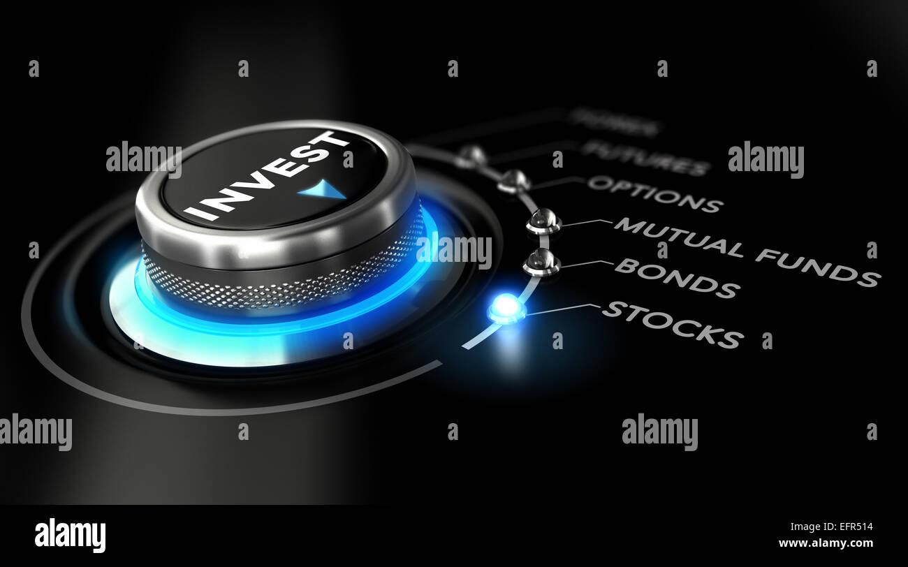 Schalten Sie Knopf auf den Wortschatz, schwarzer Hintergrund und blaues Licht positioniert. Konzeptbild zur Veranschaulichung Stockbild