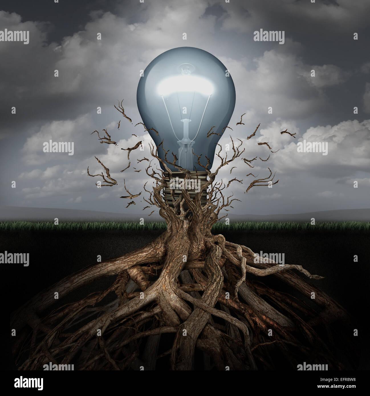 Konzept der Kreativität und der Aufstieg der Ideen als eine Glühbirne Schwellenländern aus unterirdischen Stockbild