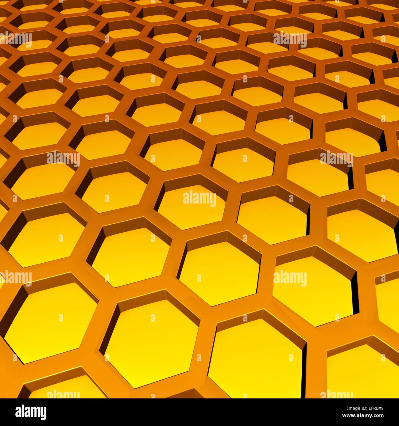 Waben Sie-Muster als drei dimensionale Sechseck Zelle Geometrien mit ...