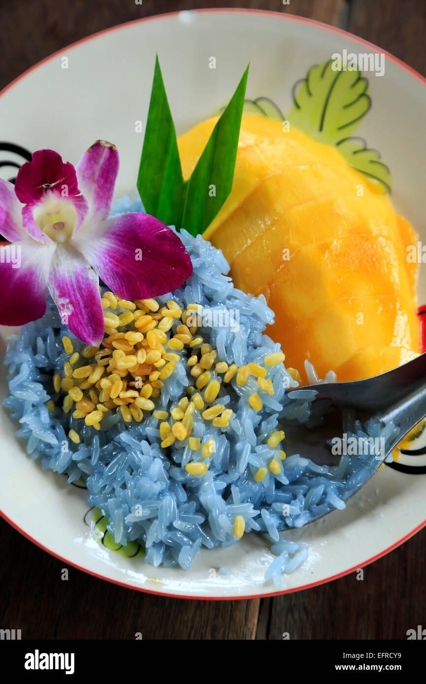 Mango klebriger Reis, Thai Farm Cooking School in der Nähe von Chiang Mai, Thailand Stockbild