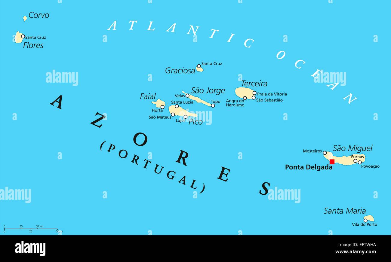 azoren karte Politische Karte Azoren Stockfoto, Bild: 78608246   Alamy azoren karte