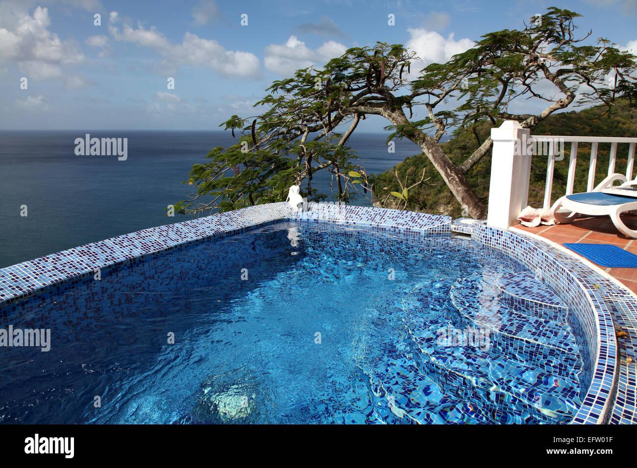 Ein blauen Pool mit Blick auf einen extravaganten Baum und dem karibischen Meer Stockbild