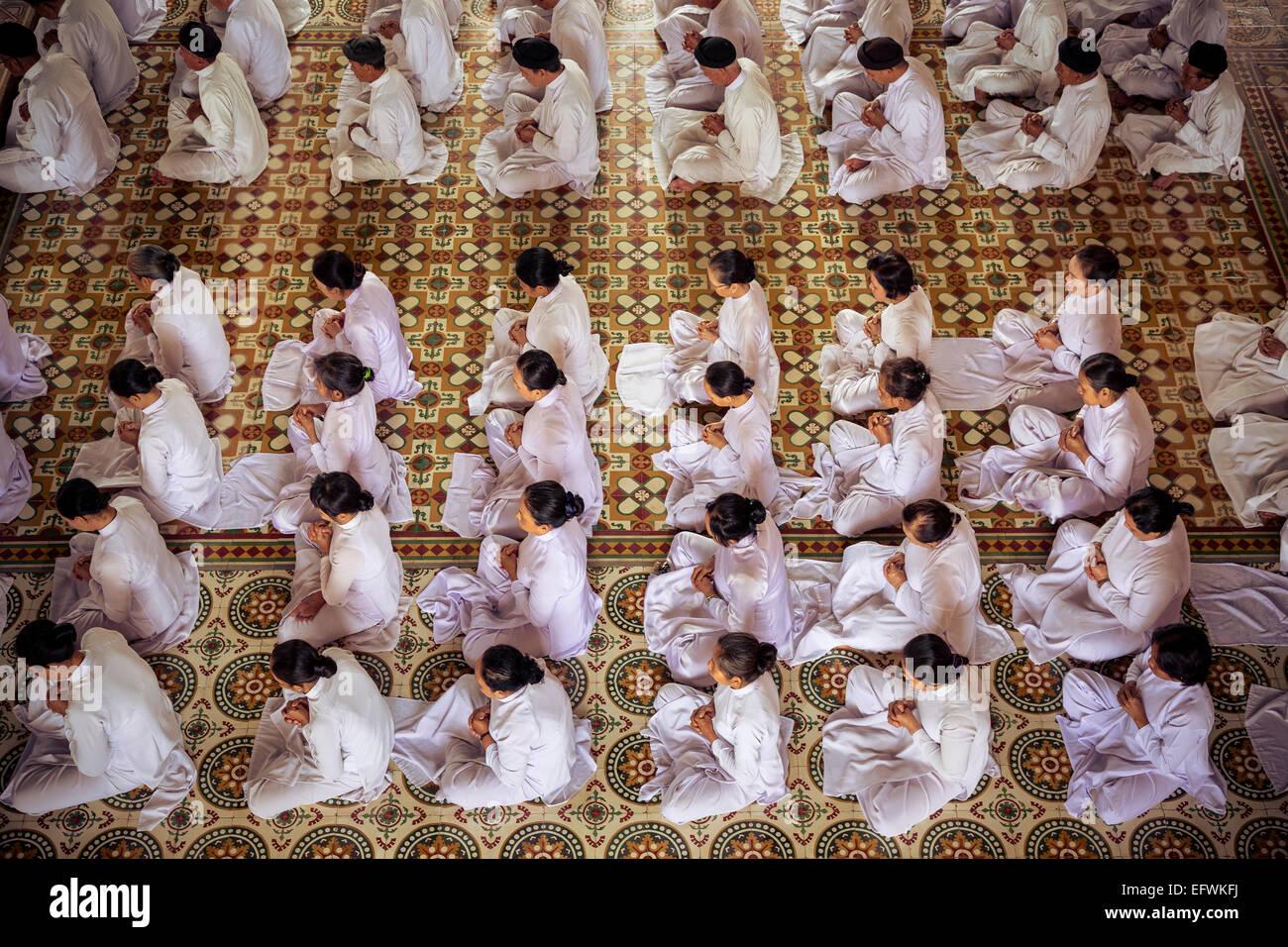 Cao Dai Tempel in Tay Ninh, Vietnam. Stockfoto