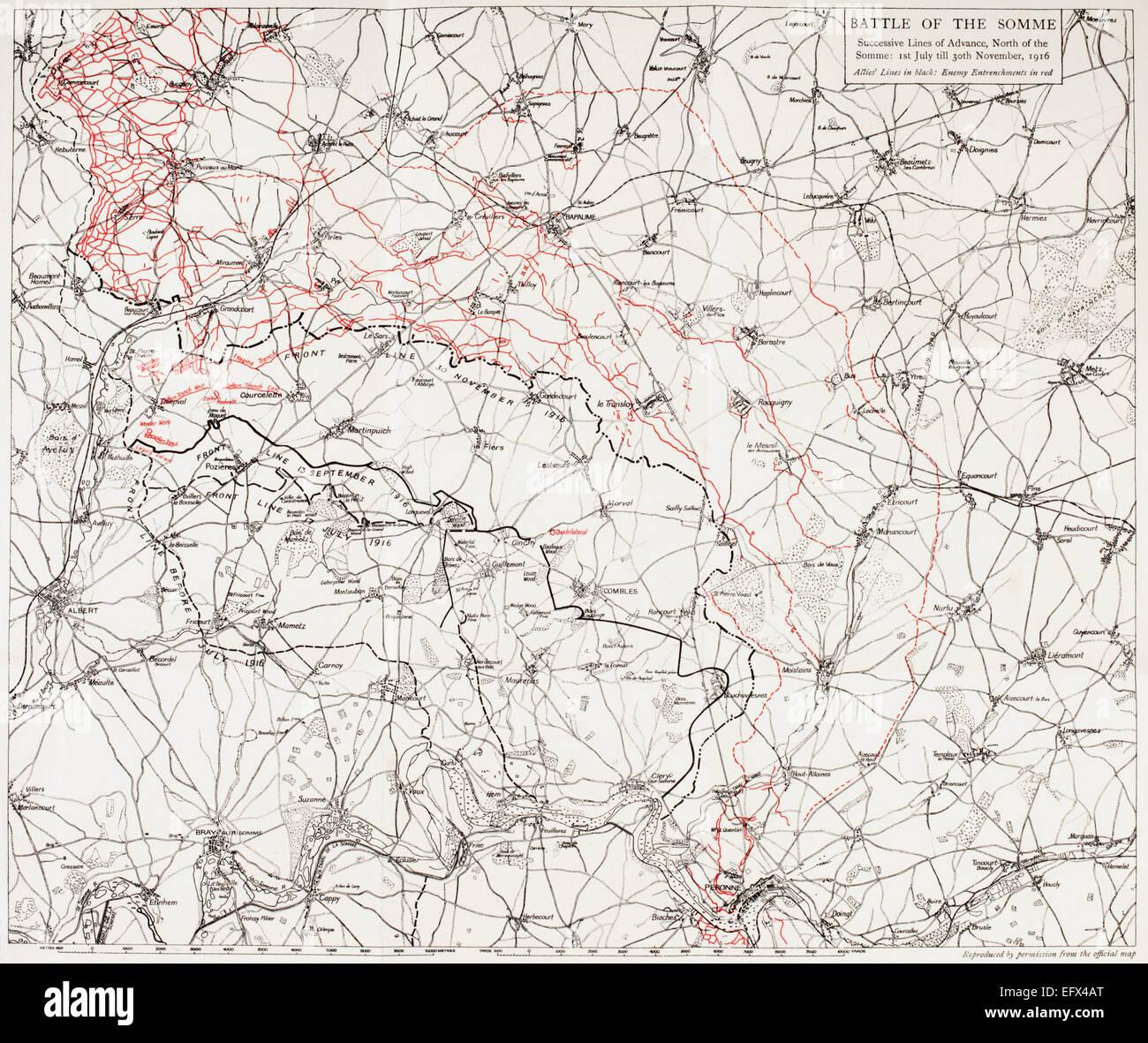 Karte der Schlacht an der Somme oder die Somme-Offensive im ersten Weltkrieg. Aufeinander folgende Zeilen von der Stockfoto