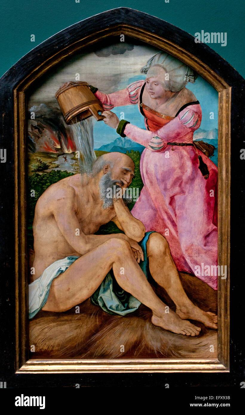 Job auf der vorbeirannte 1505 ALBRECHT DÜRER (1471-1528) deutsche Deutschland Stockbild