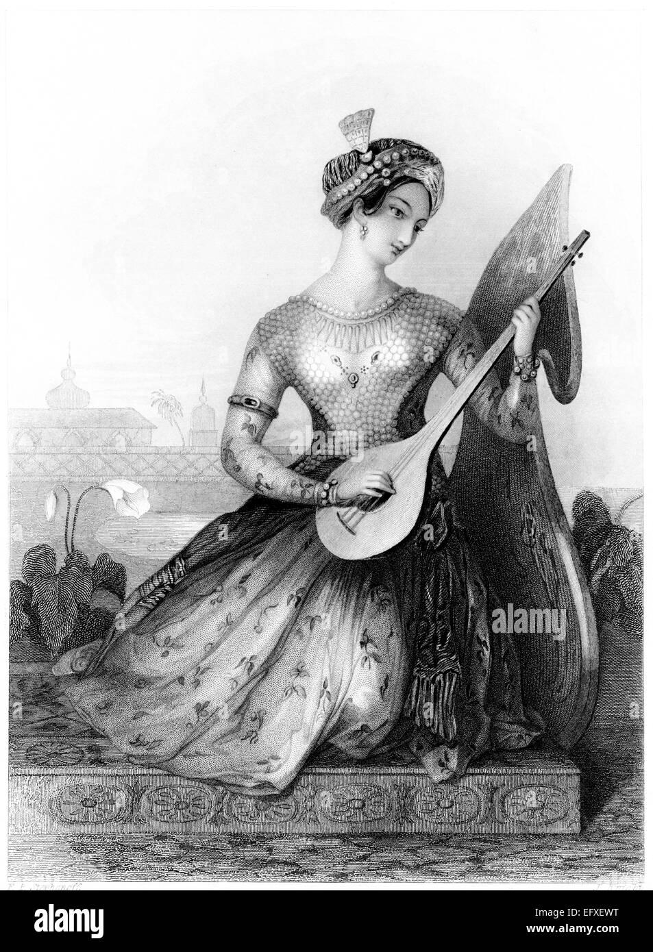 """Eine Gravur mit dem Titel """"The Rajah Tochter"""" mit hoher Auflösung aus einem Buch gescannt, gedruckt Stockbild"""