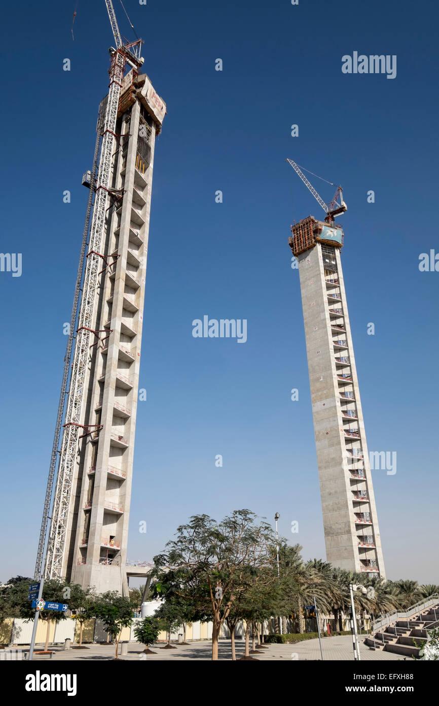 Die Dubai-Rahmenkonstruktion, eine neue Wahrzeichen touristische Attraktion mit Aussichtsplattform im Zabeel Park Stockbild
