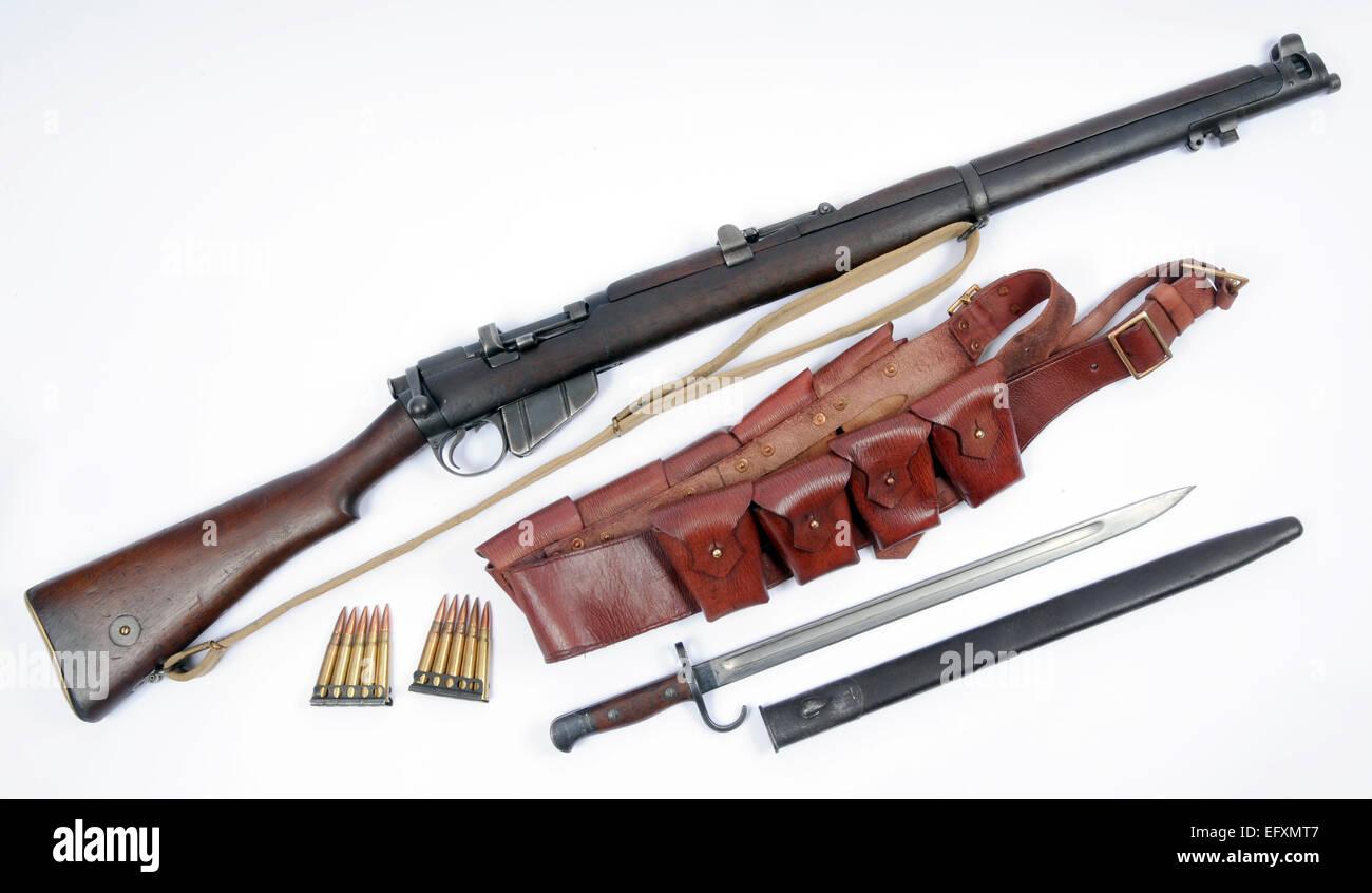 WW1 SMLE Rifle als Kavallerie und Infanterie-Einheiten ausgegeben Stockbild