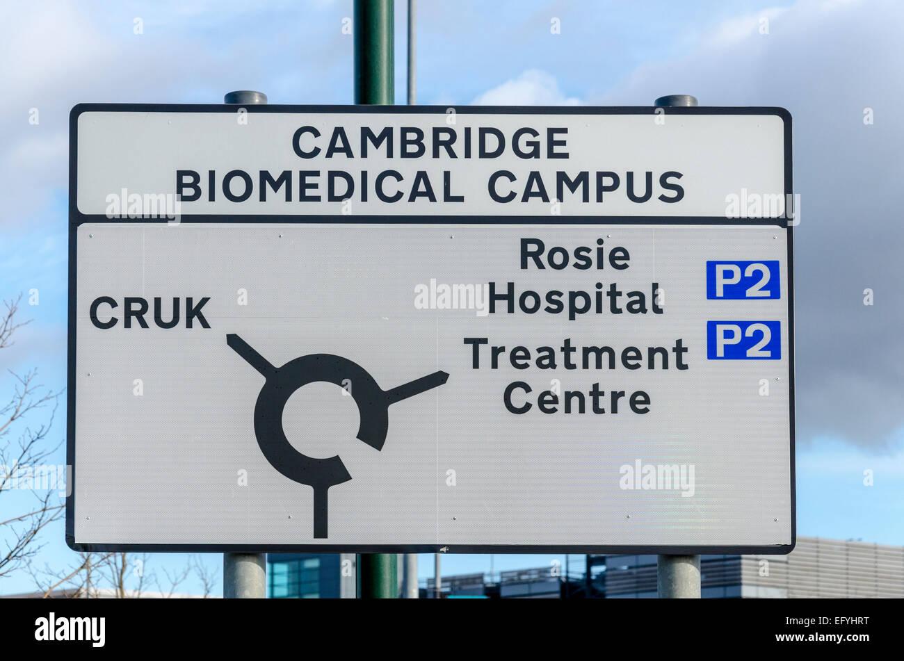 Biomedizinischen Campus Cambridge Zeichen Stockbild