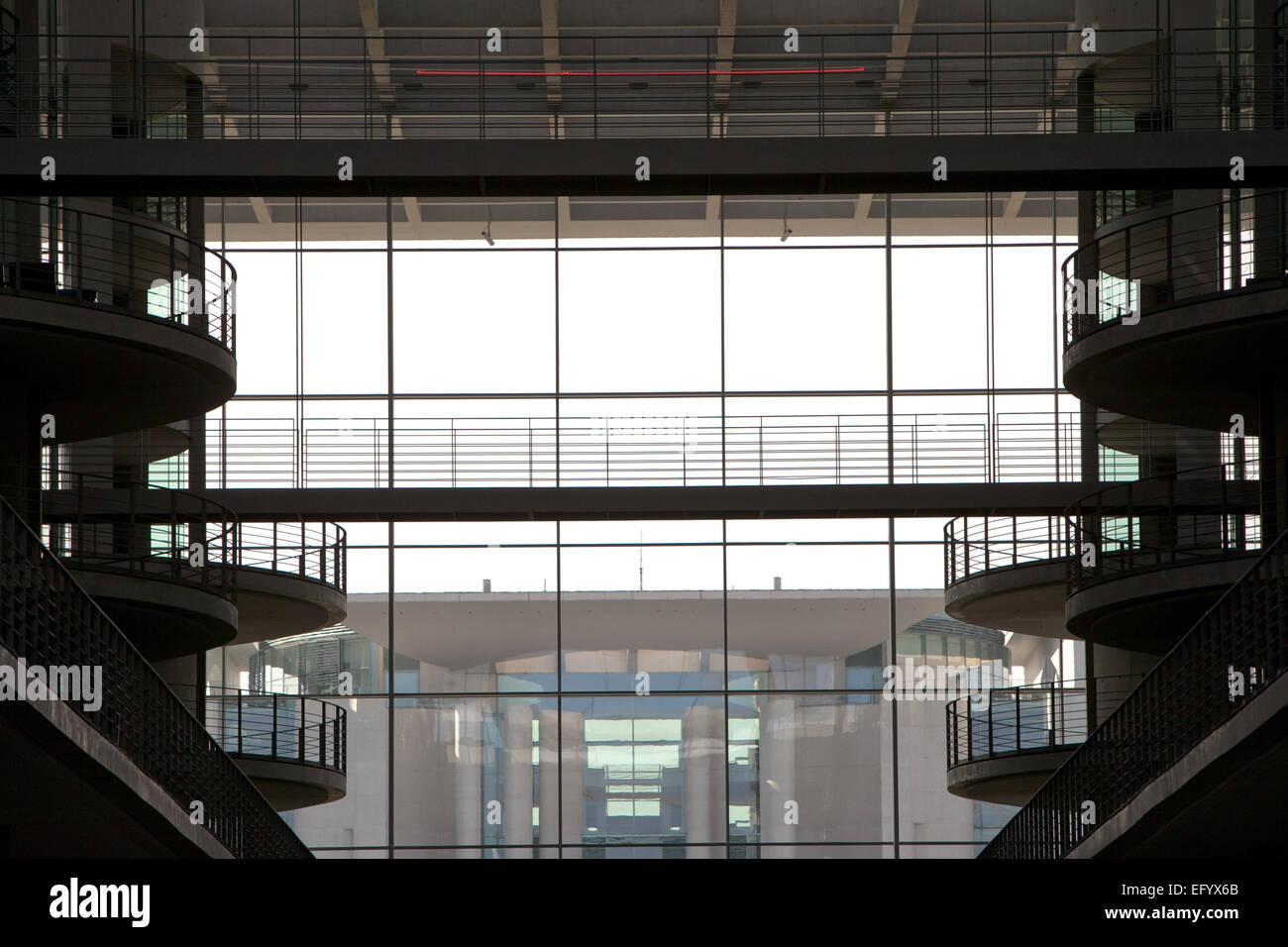 Interieur Architektur Schuss der deutschen Regierung Gebäude Paul-Loebe-Haus, das Kanzleramt, Foto: 10. September Stockbild