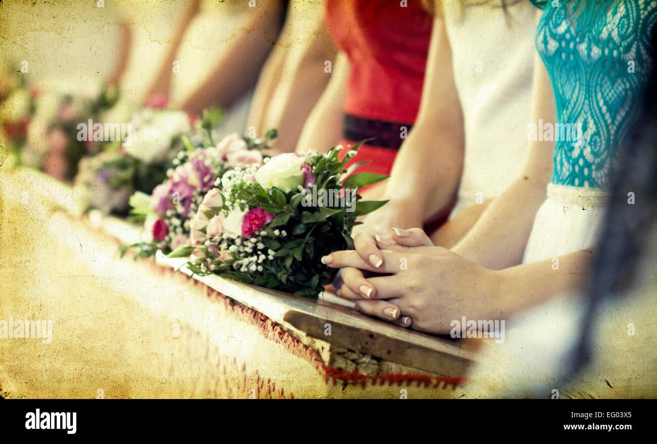 Vintage Foto Von Schonen Blumen Hochzeit Dekoration In Einer Kirche