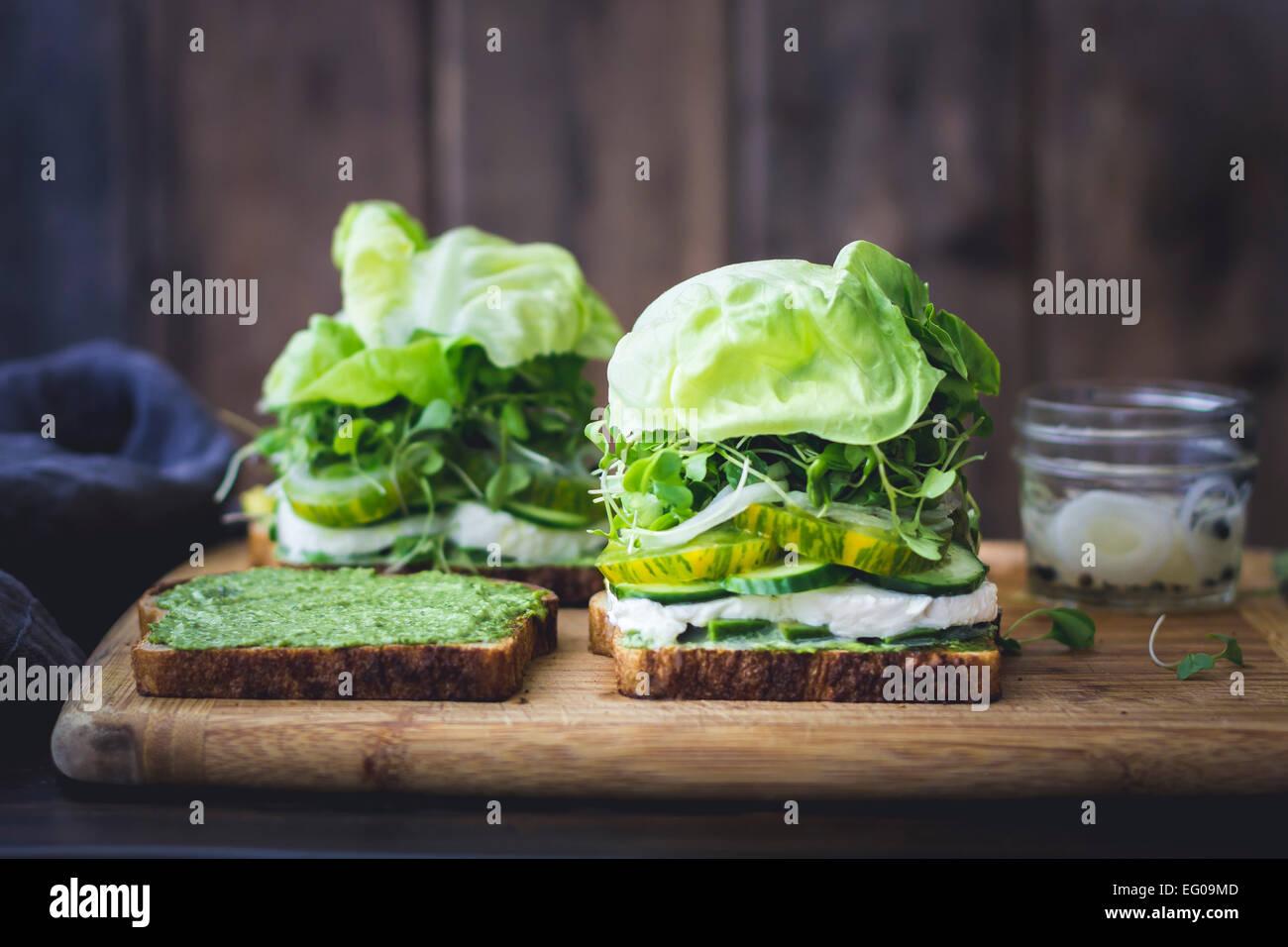 Grüner Salat-sandwich Stockbild