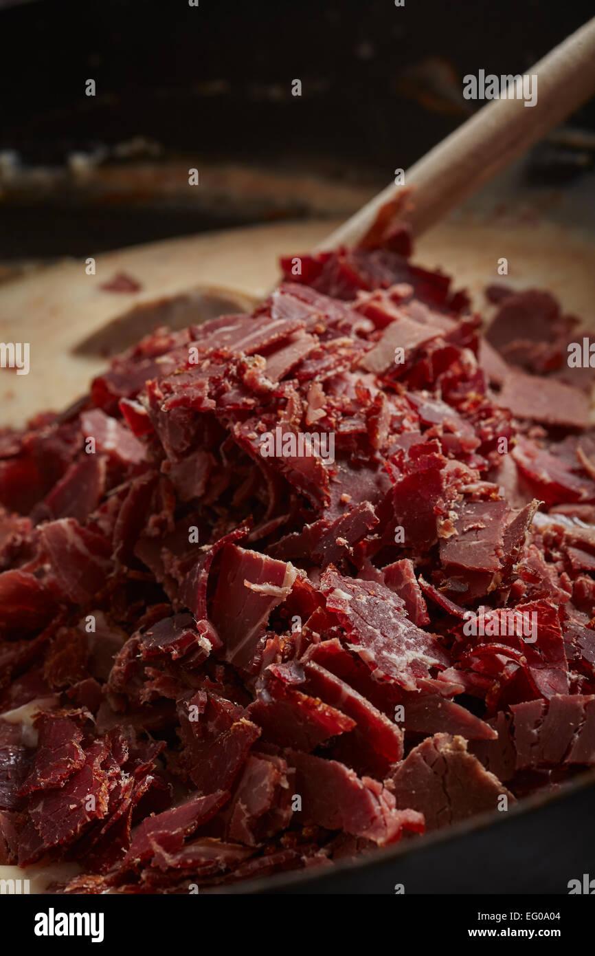 Sahne machen Rindfleisch gehackt Stockbild