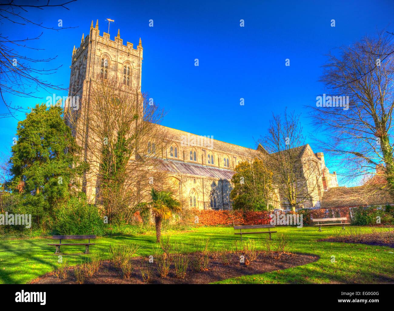 Christchurch Priory Dorset England UK 11. Jahrhundert Denkmalschutz ich Kirche im Zentrum der Stadt in bunte lebendige Stockbild