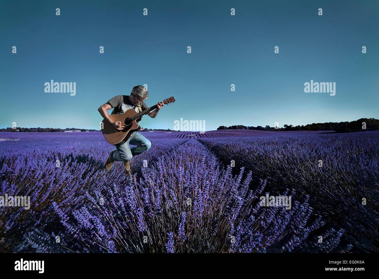 Man Gitarre spielen im Lavendelfeld Stockbild