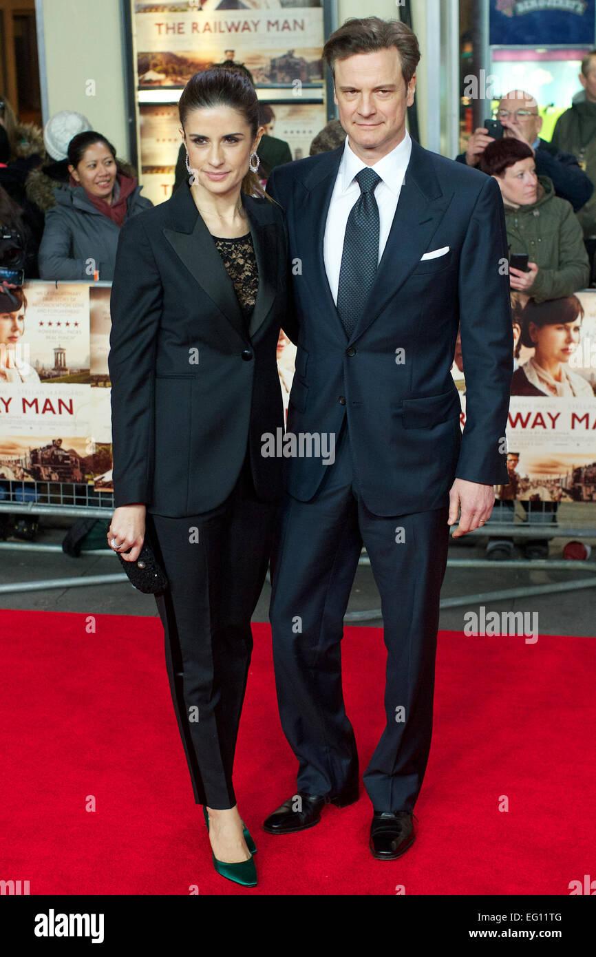 Vereinigtes Königreich, London: Britische Schauspieler Colin Firth und italienischer Filmproduzent Livia Giuggioli Stockbild